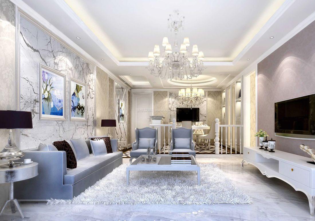 家装效果图 欧式 最新欧式家居别墅客厅沙发背景墙装修效果图片 提供图片