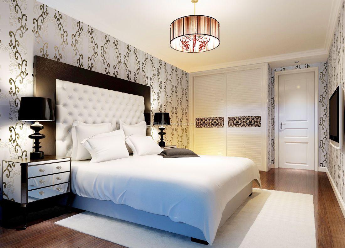 2017欧式家居别墅卧室背景墙壁纸装修效果图片