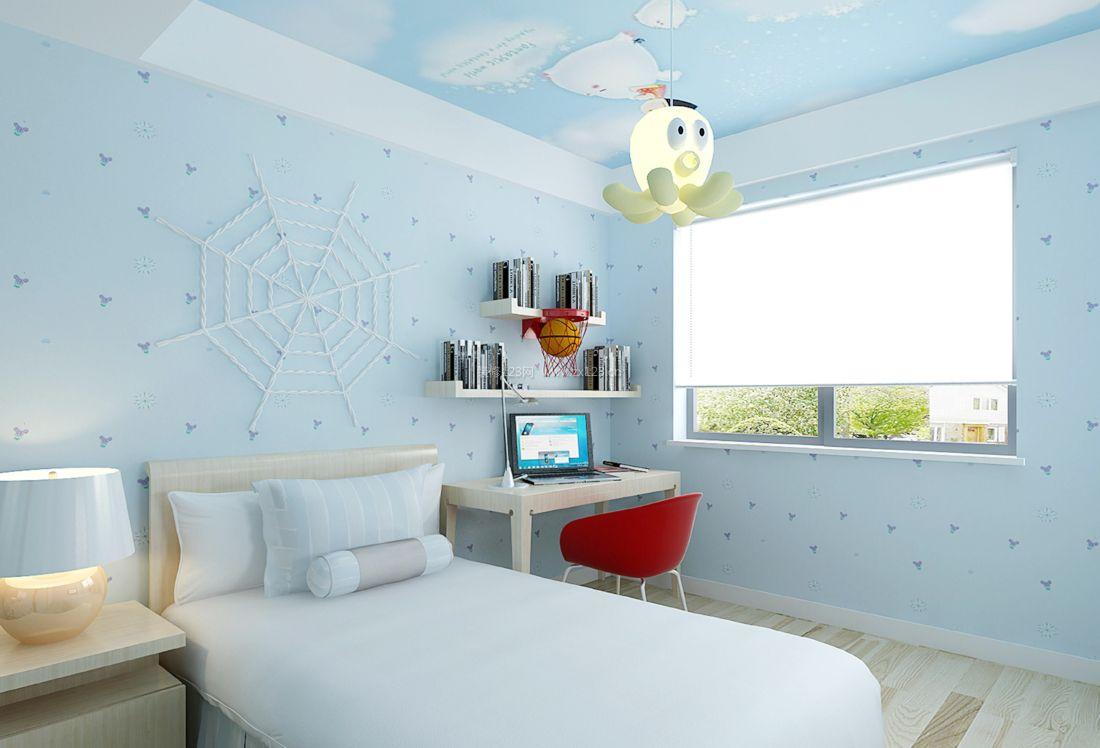 现代简约风格卧室墙面蓝色壁纸装修效果图片