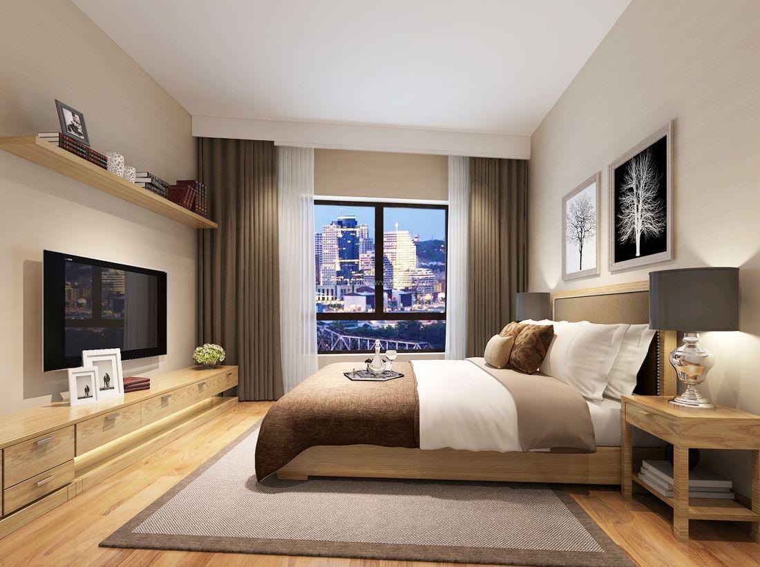 现代简约风格卧室电视背景墙装修效果图案例