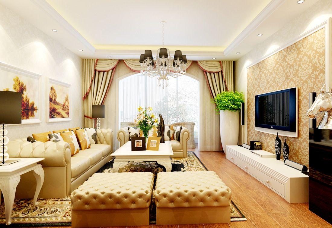 欧式80平米小户型客厅电视背景墙壁纸效果图_装修123图片