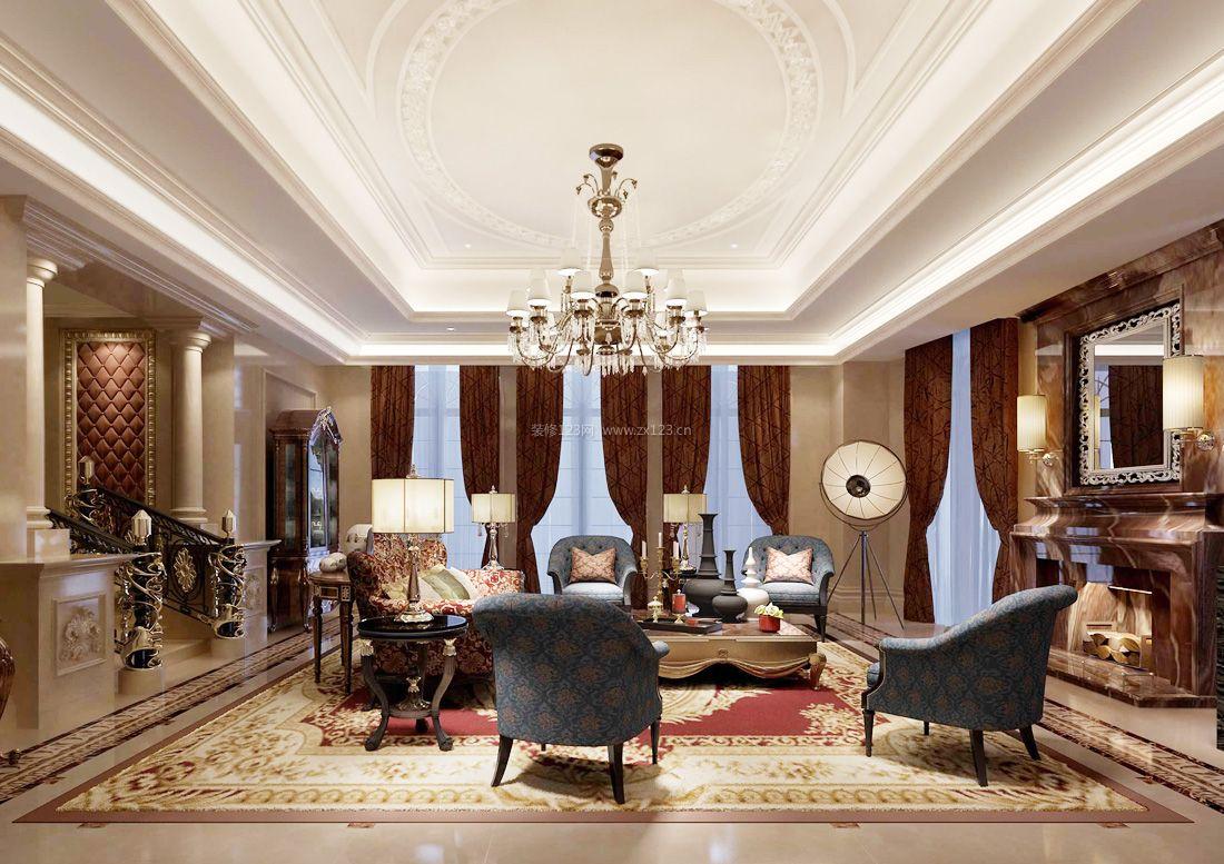 2017欧式家居别墅客厅石膏板吊顶装饰效果图图片