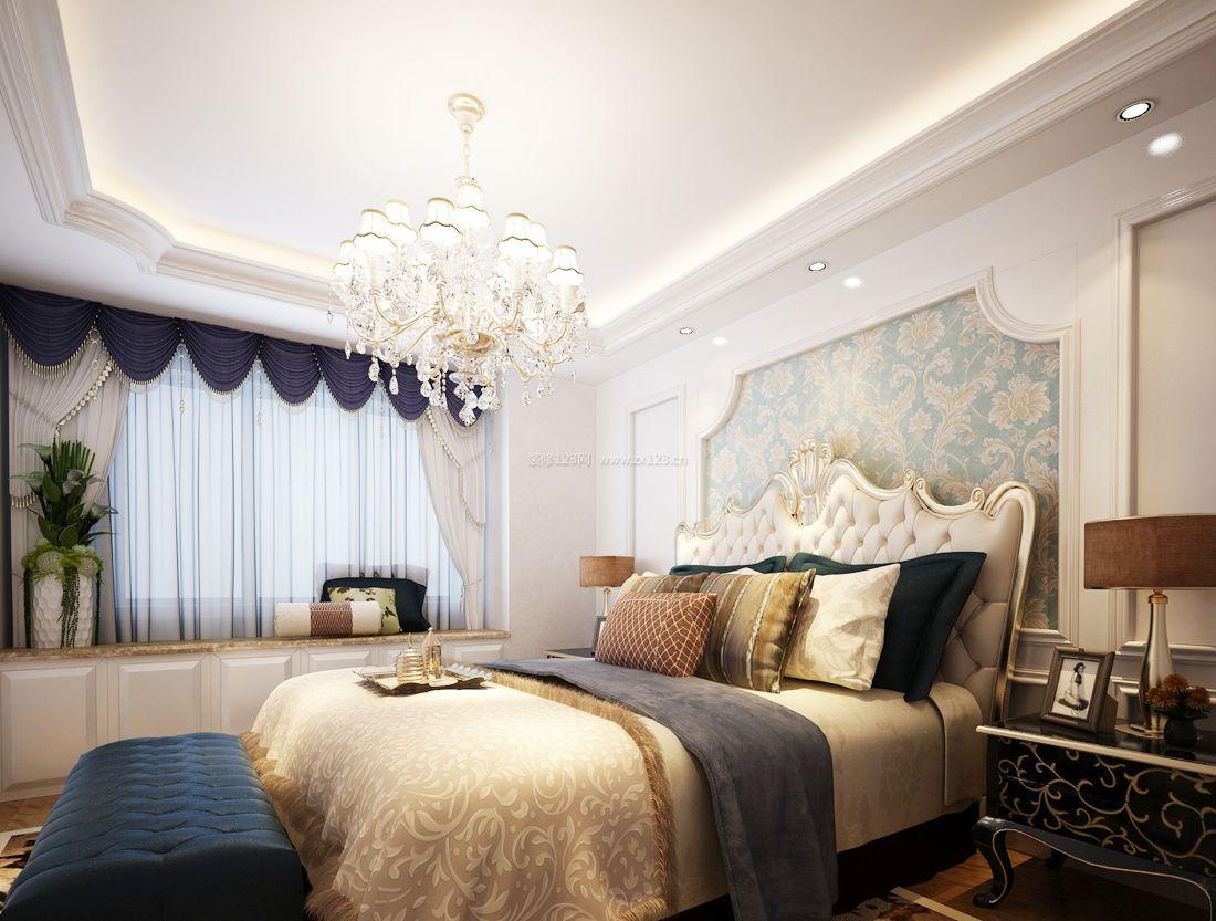 2017欧式家居别墅卧室墙面壁纸装修效果图片