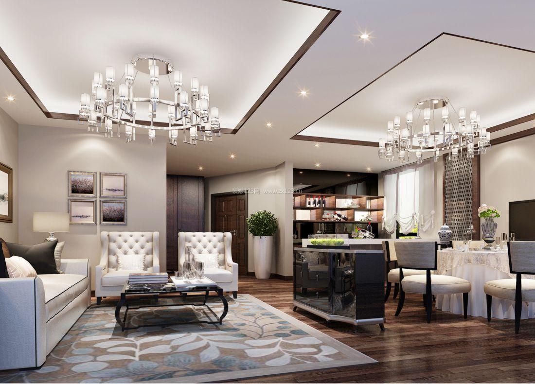 简欧家装风格80平米小户型客厅背景墙装修效果图片图片