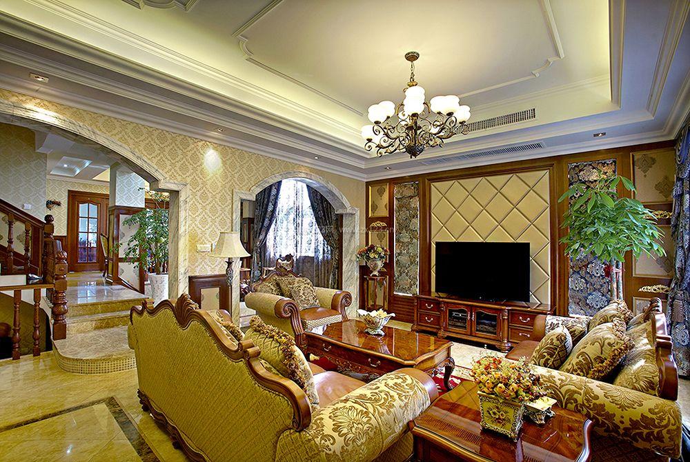 新古典美式风格客厅实木沙发装修效果图片图片