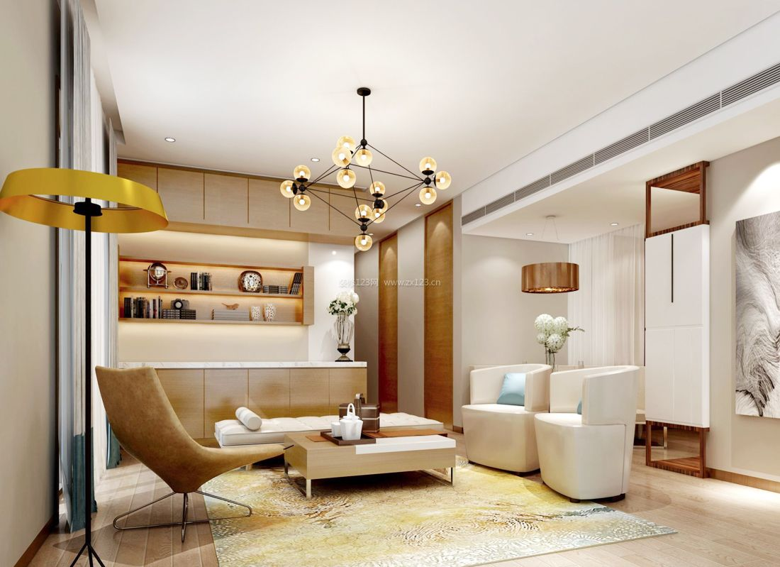 简约现代家装80平米小户型客厅背景墙装修图片_装修