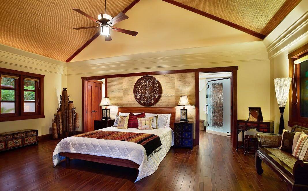 东南亚风格卧室床设计摆放效果图片2017