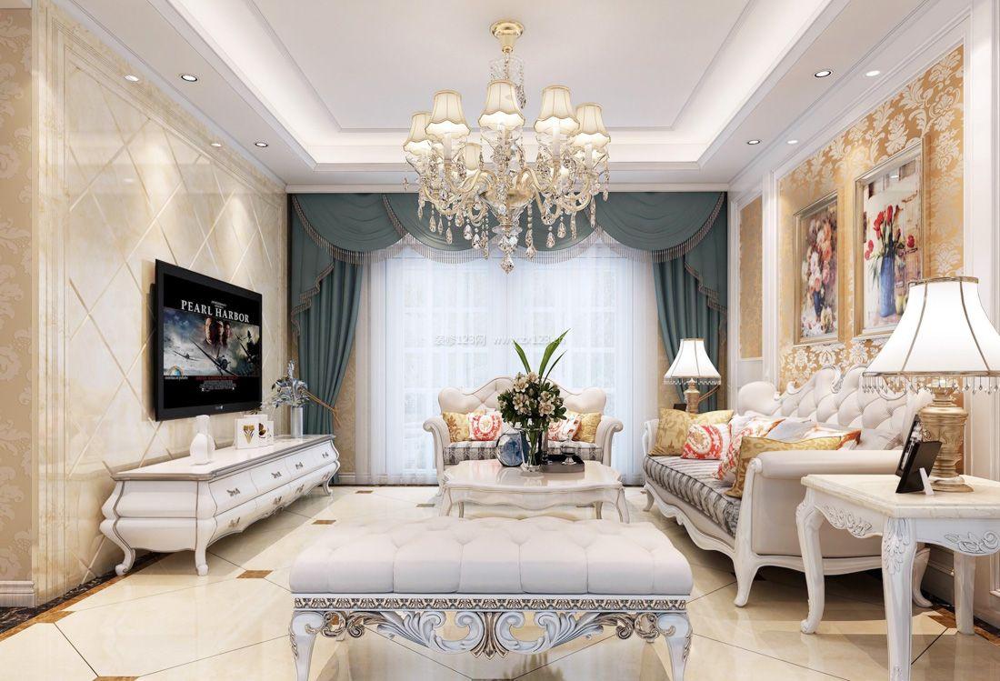 家装效果图 欧式 2017欧式小客厅背景墙装修效果图