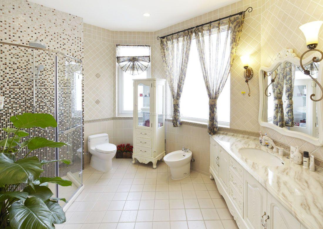 复式家居浴室马赛克背景墙效果图图片欣赏_装修123