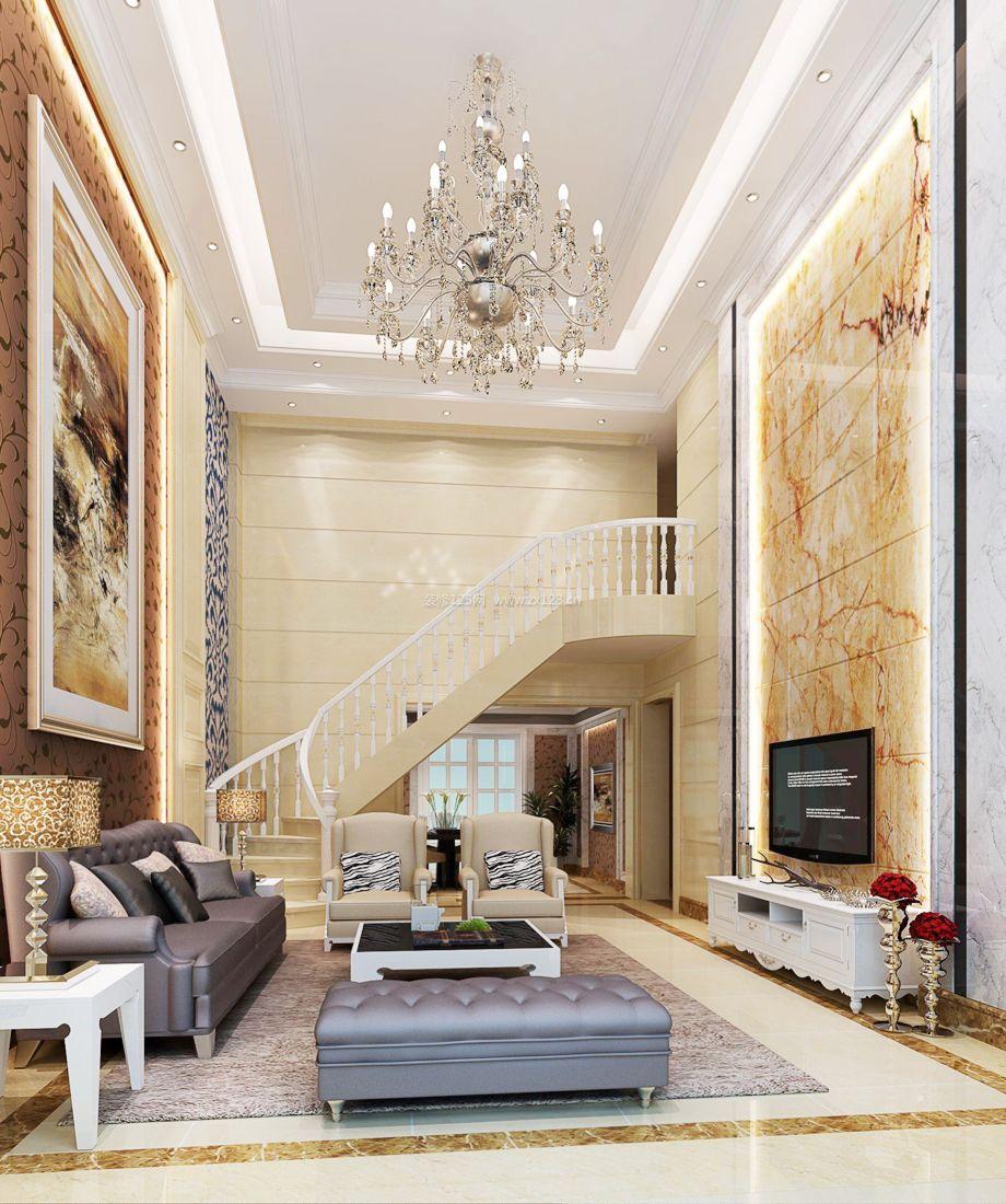 欧式设计复式家居客厅电视背景墙装修图