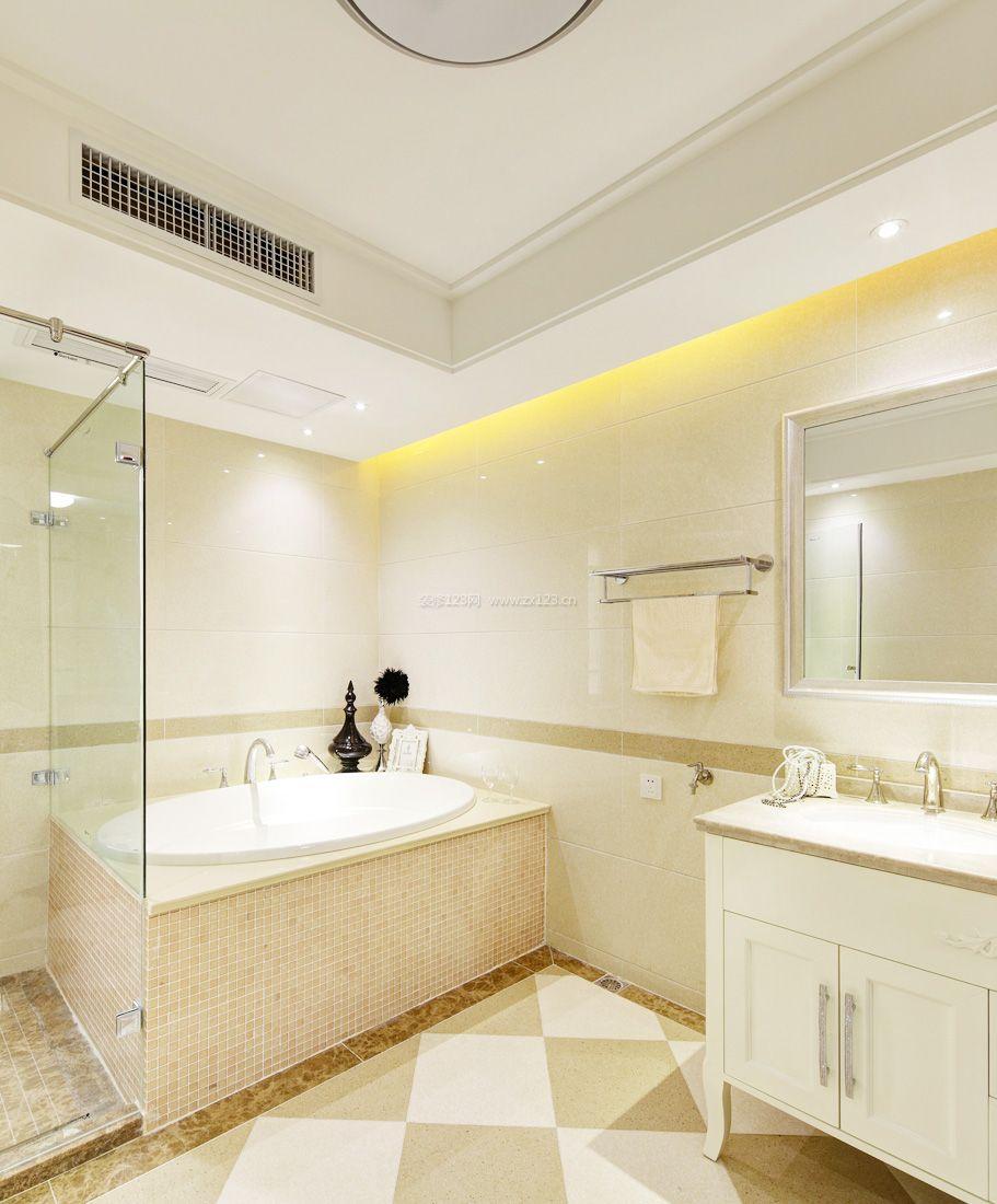 2017复式家居浴室圆形浴缸装修效果图片