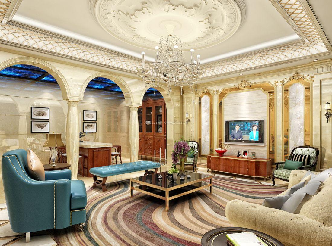 2017欧式豪华别墅客厅背景墙装修效果图片案例