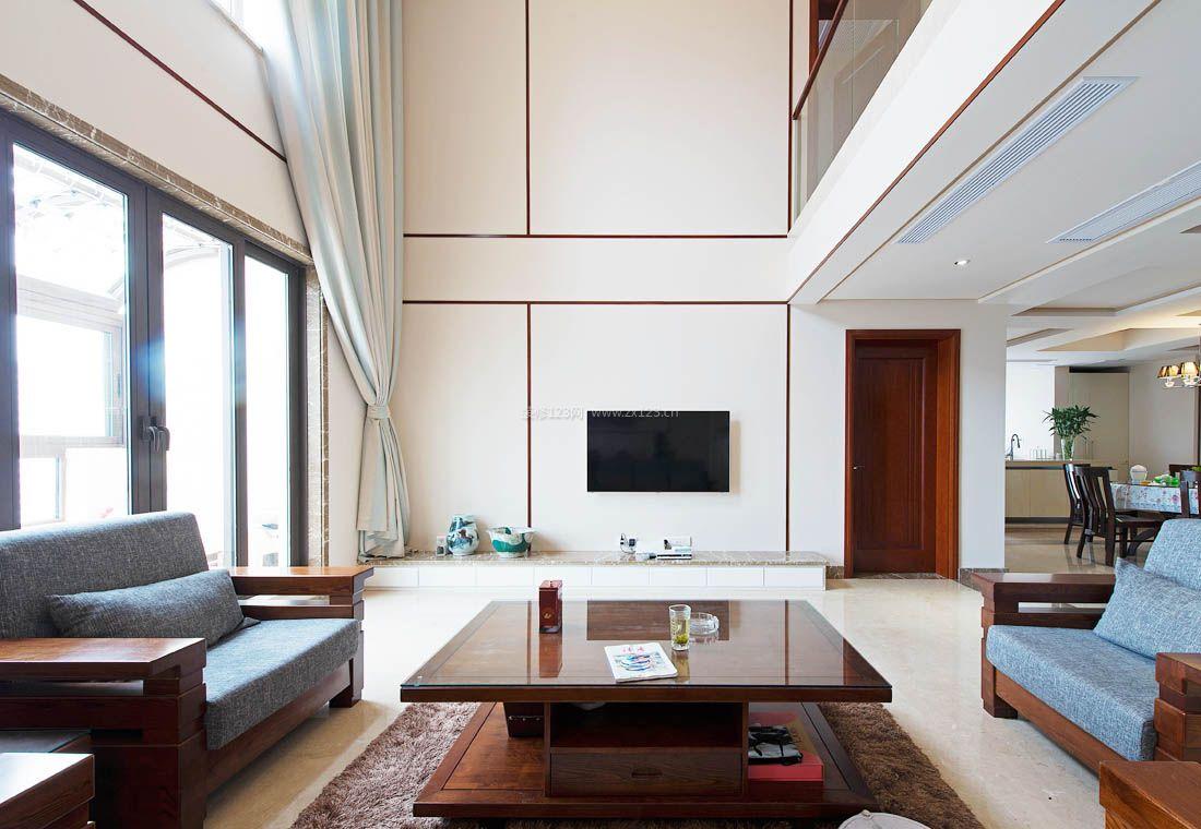 2017中式复式家居简约客厅装修效果图