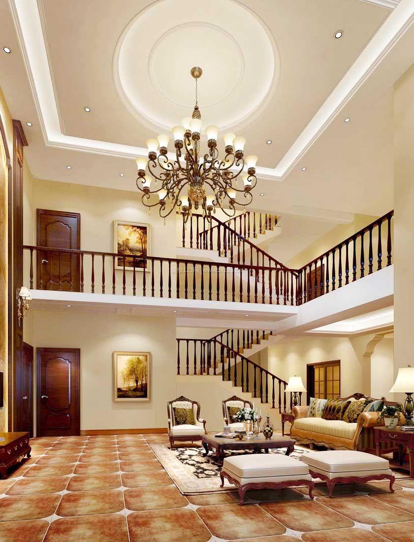 2017欧式家居三层别墅客厅设计效果图