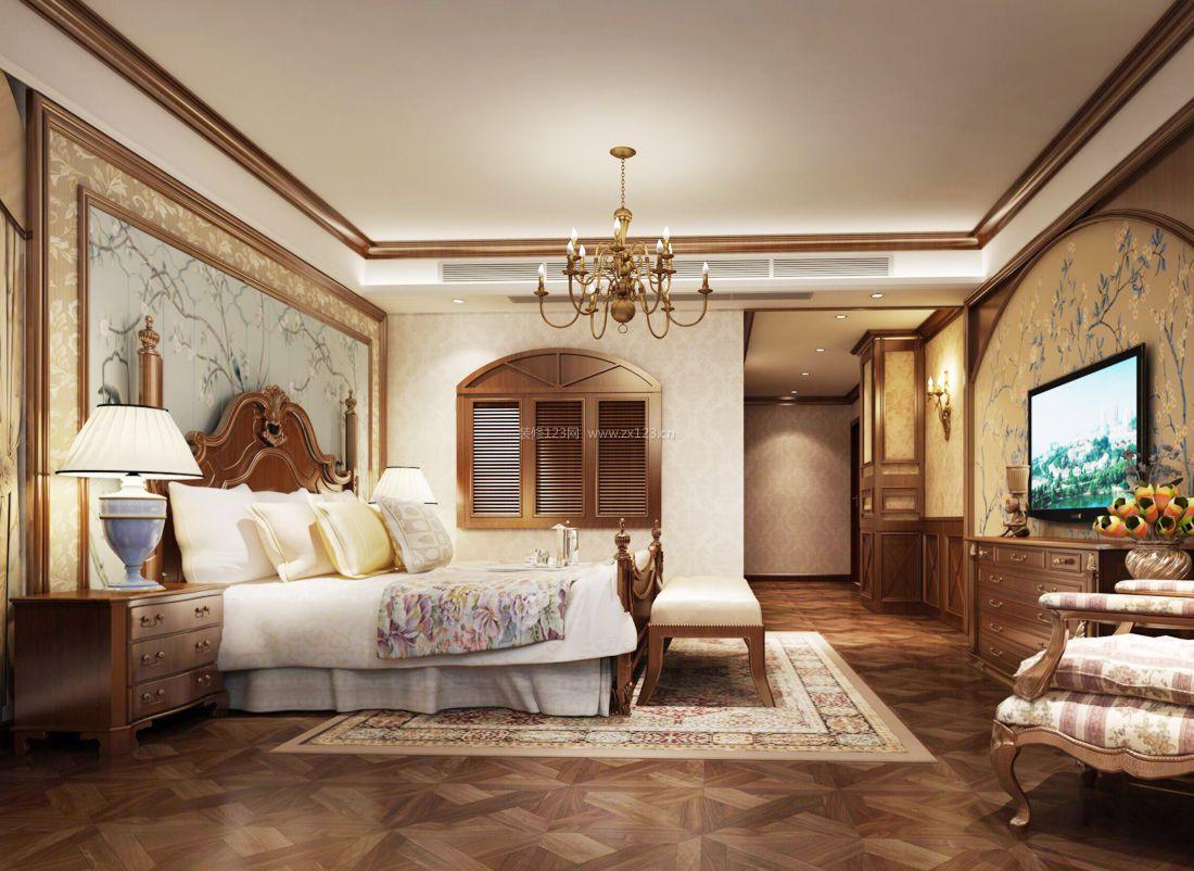 2017美式复式家居卧室电视背景墙效果图图片