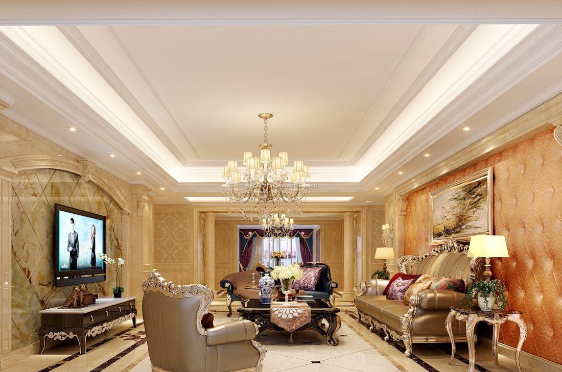 2017欧式家装客厅设计沙发背景墙装修效果图片