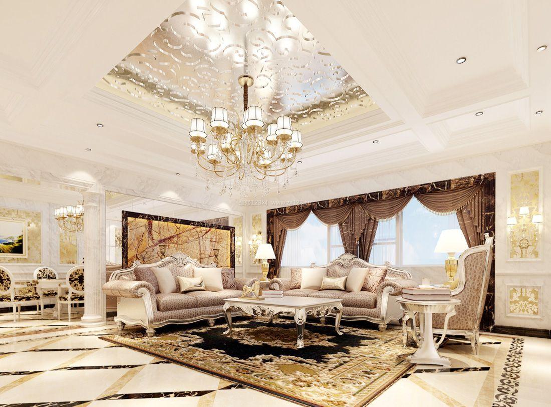 最新欧式家装设计客厅吊顶装饰效果图