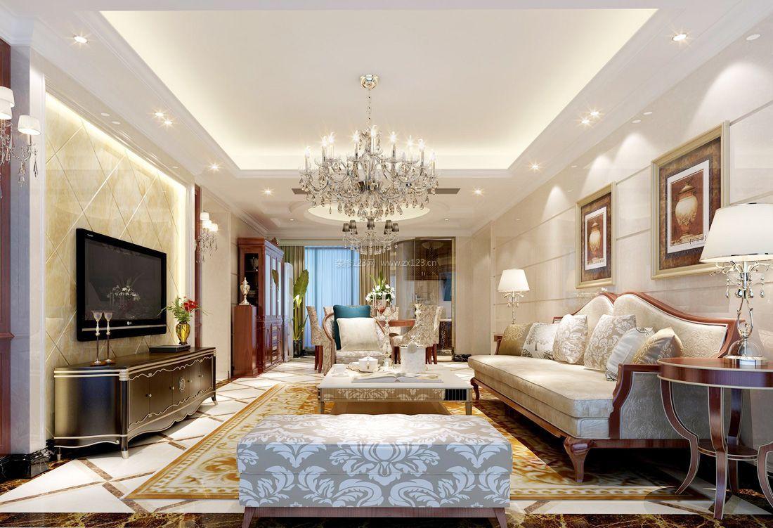 2017欧式家装设计客厅组合沙发装修效果图片