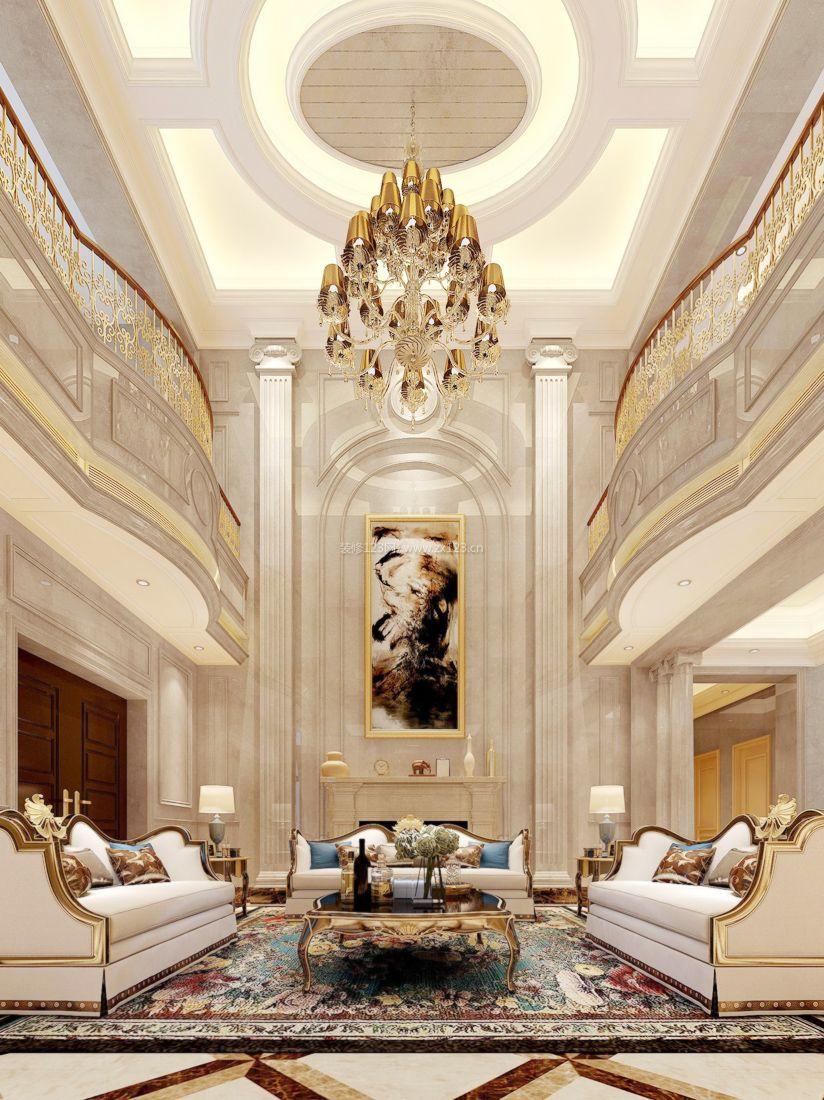 2017欧式家装复式楼客厅设计吊灯装修效果图片