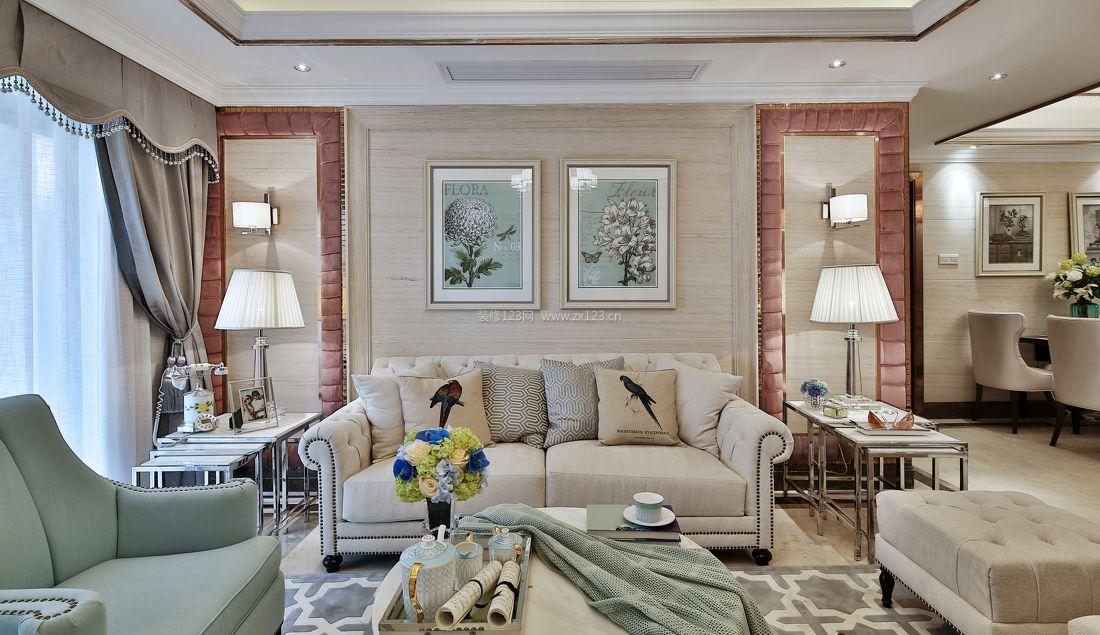小户型简欧风格客厅沙发背景墙装修效果图片欣赏图片