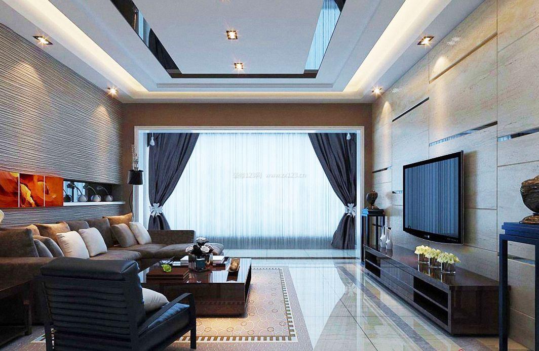 最新现代客厅窗帘设计装修效果图片2017