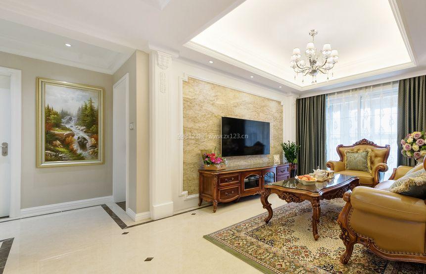 小户型简欧风格客厅电视背景墙设计图_装修123效果图图片