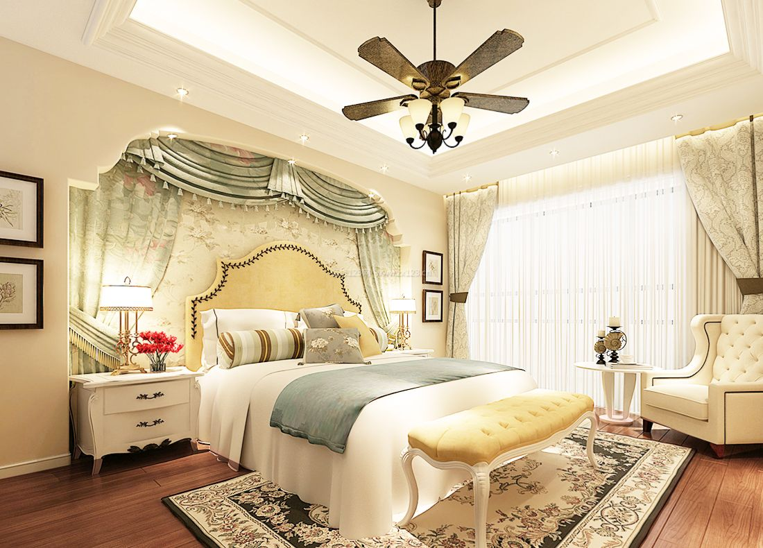 欧式儿童房间床头背景墙装修设计实景效果图片