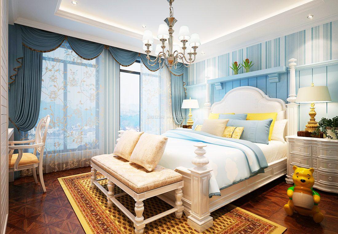 欧式儿童房间床头背景墙设计实景效果图图片