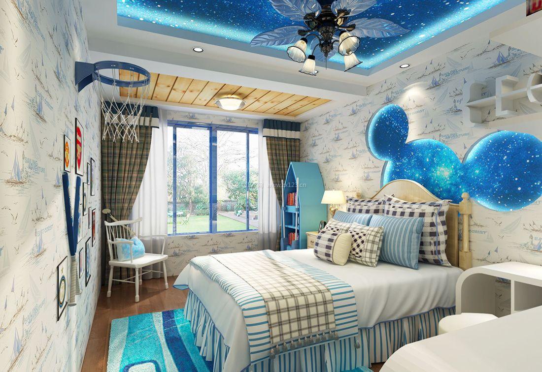 2017儿童房间床头背景墙设计实景效果图