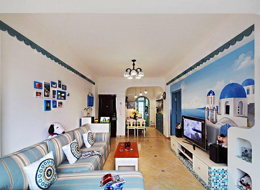 地中海客厅电视背景墙墙绘装修效果图片