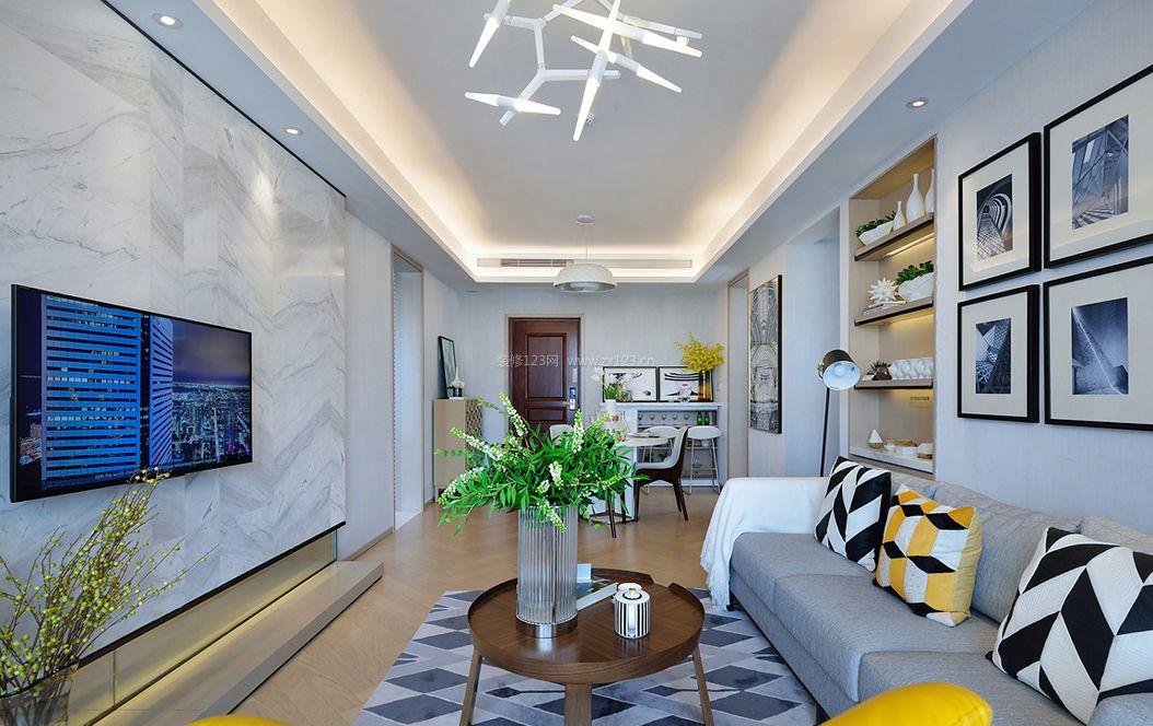 簡歐式客廳吊頂設計效果圖圖片_裝修123效果圖