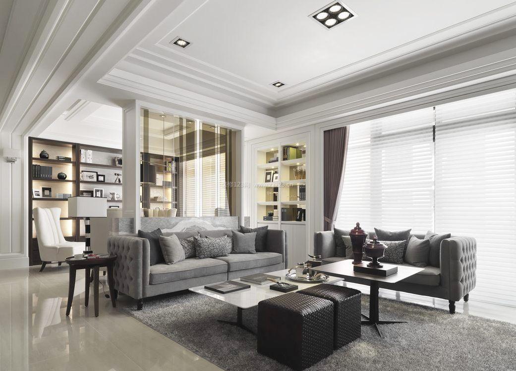 现代简欧风格客厅石膏线吊顶效果图