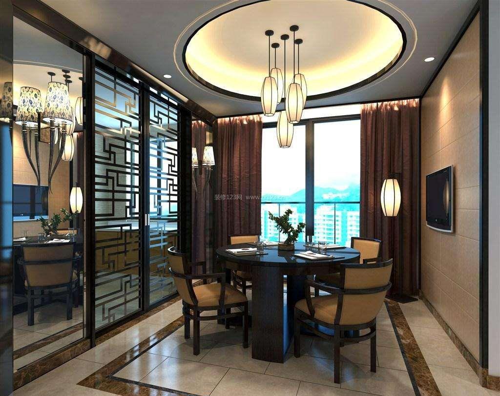 家装效果图 中式 新中式风格餐厅圆形吊顶装修效果图片 提供者:   ←图片