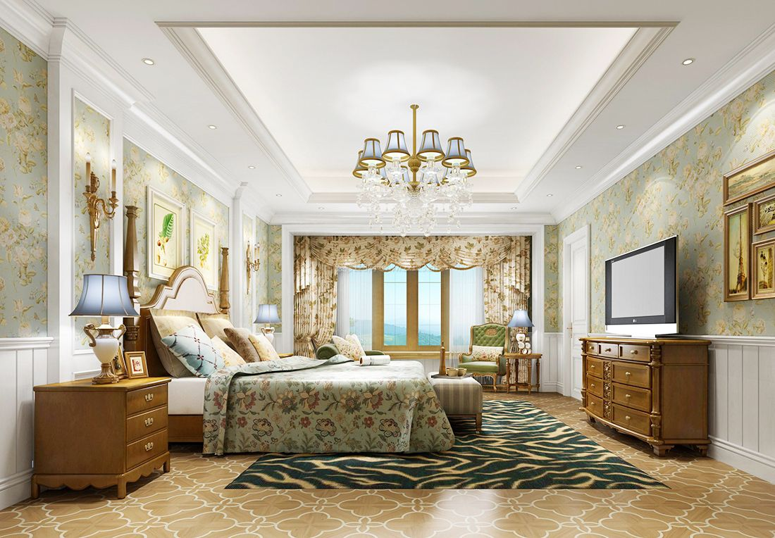 美式别墅浪漫卧室床头背景墙装修效果图片图片