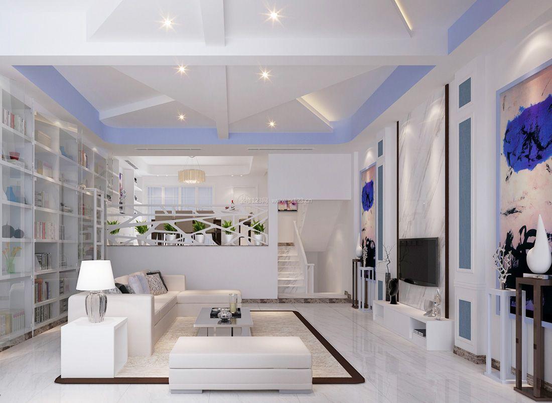 2017现代简约风格客厅白色组合沙发装修效果图片