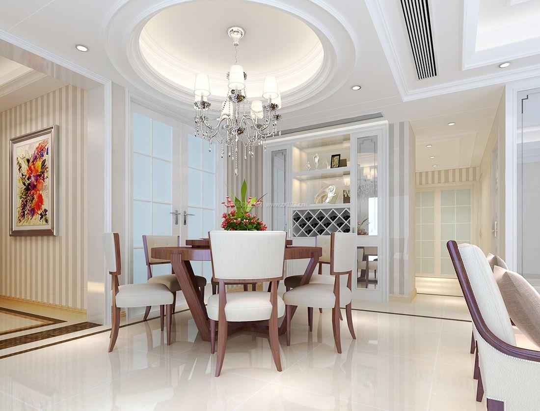 现代欧式简约风格餐厅白色圆形吊顶装修效果图片