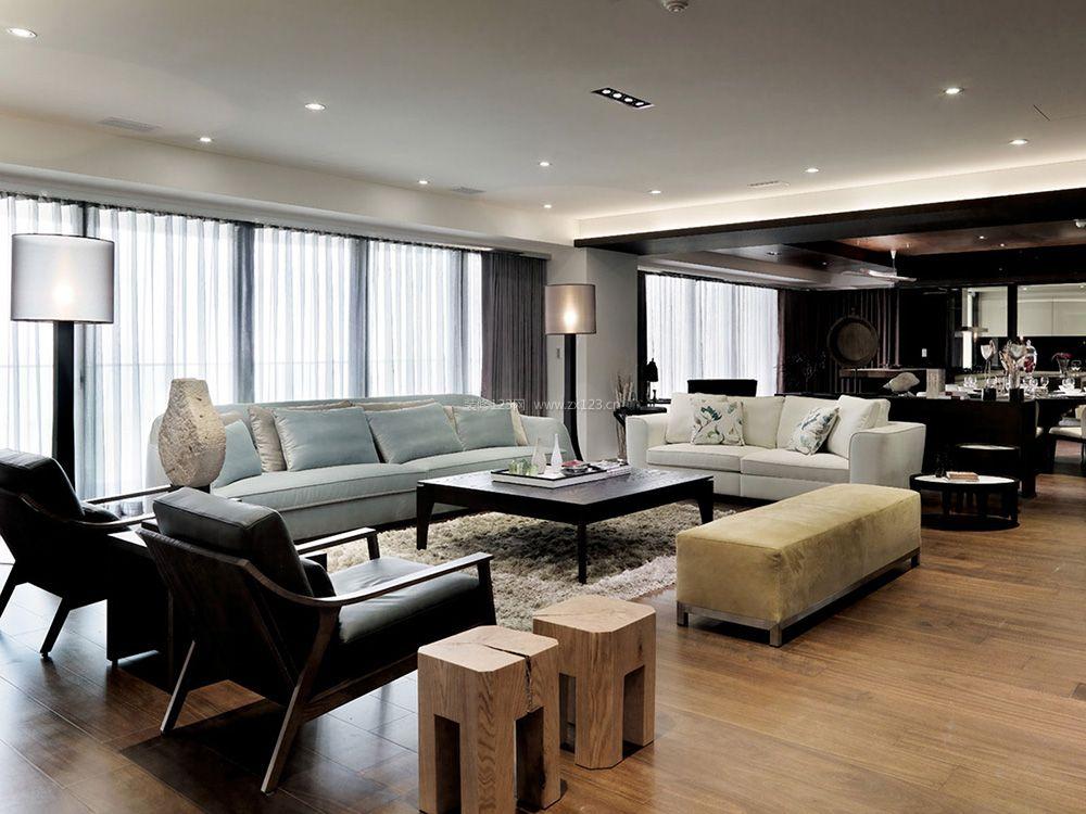 现代中式装修风格客厅沙发摆放效果图片_装修123效果图
