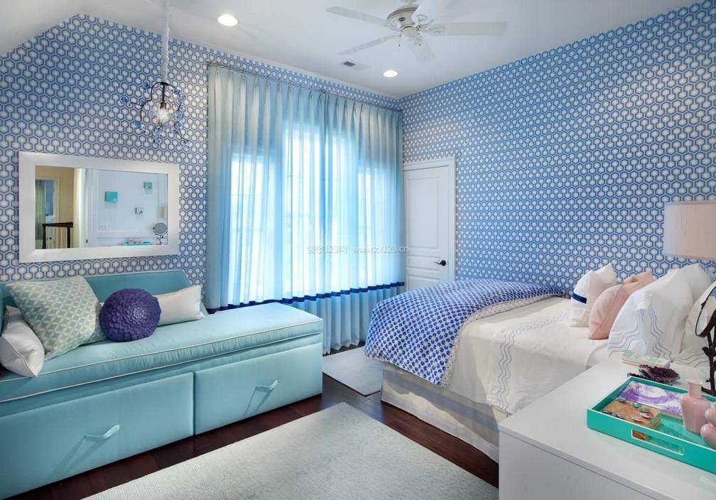 15平米女生卧室壁纸装修效果图大全