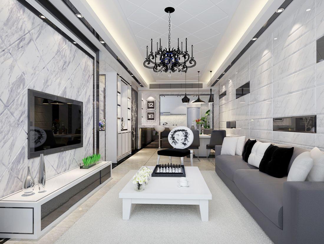 2017现代80平米客厅电视背景墙砖装修效果图片