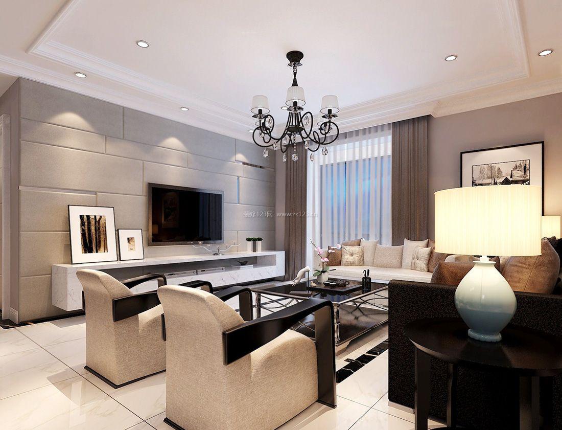 2017现代80平米小户型客厅台灯装修效果图片