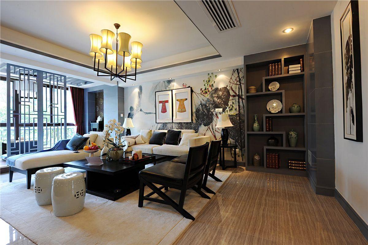 2017新中式别墅客厅组合沙发装修效果图片图片
