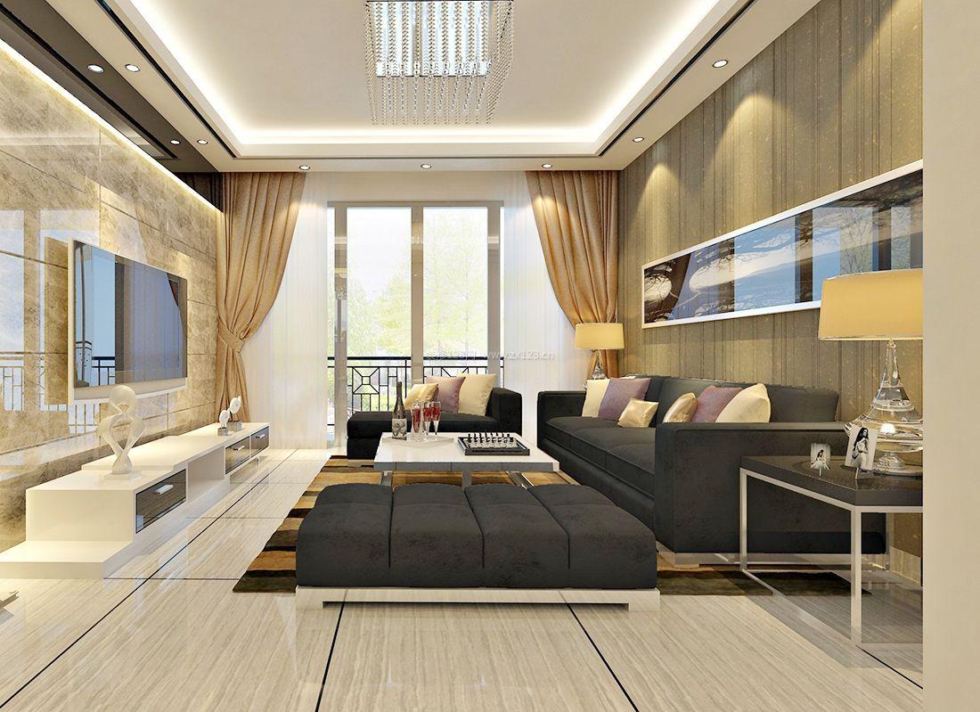2017现代80平米客厅布艺窗帘装修效果图片