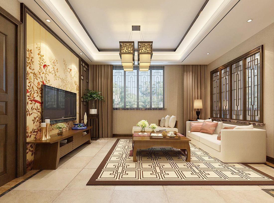 家装效果图 中式 新中式风格客厅电视背景墙装饰效果图2017 提供者图片