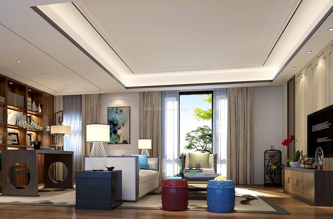 新中式风格客厅台灯装修效果图片2017图片