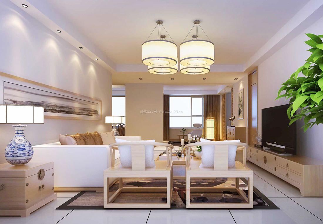 新中式风格客厅电视柜装修效果图片2017