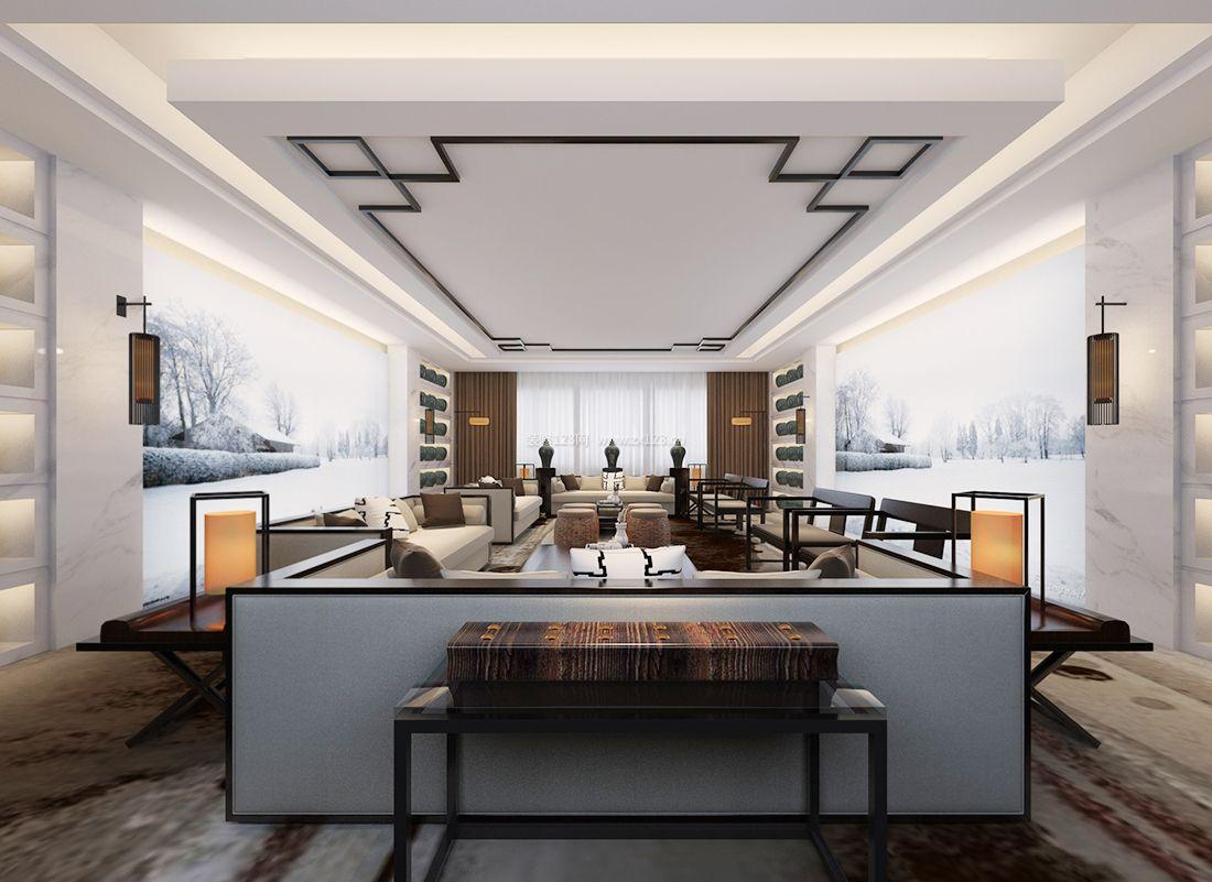 2017新中式风格客厅吊顶设计装修效果图片
