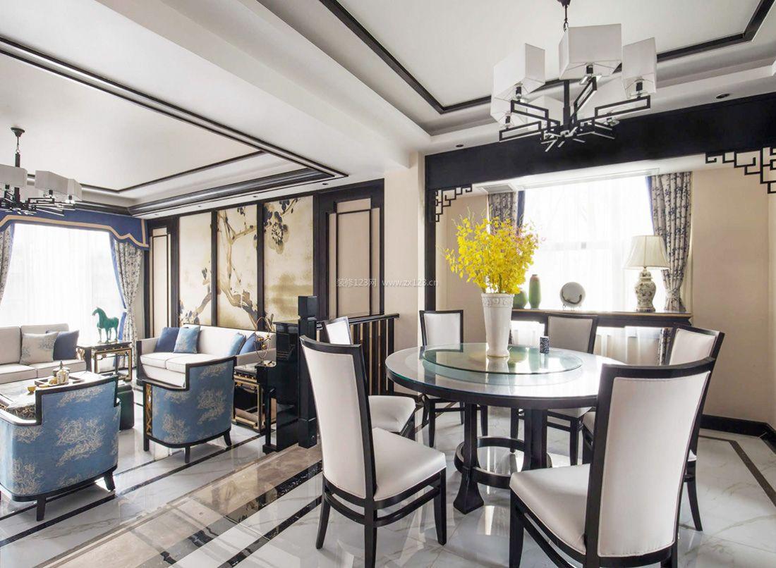 2017新中式風格客廳墻面裝飾裝修效果圖片案例