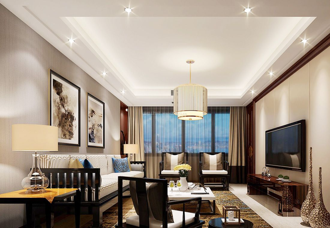 2017新中式风格客厅装饰画装修效果图片图片