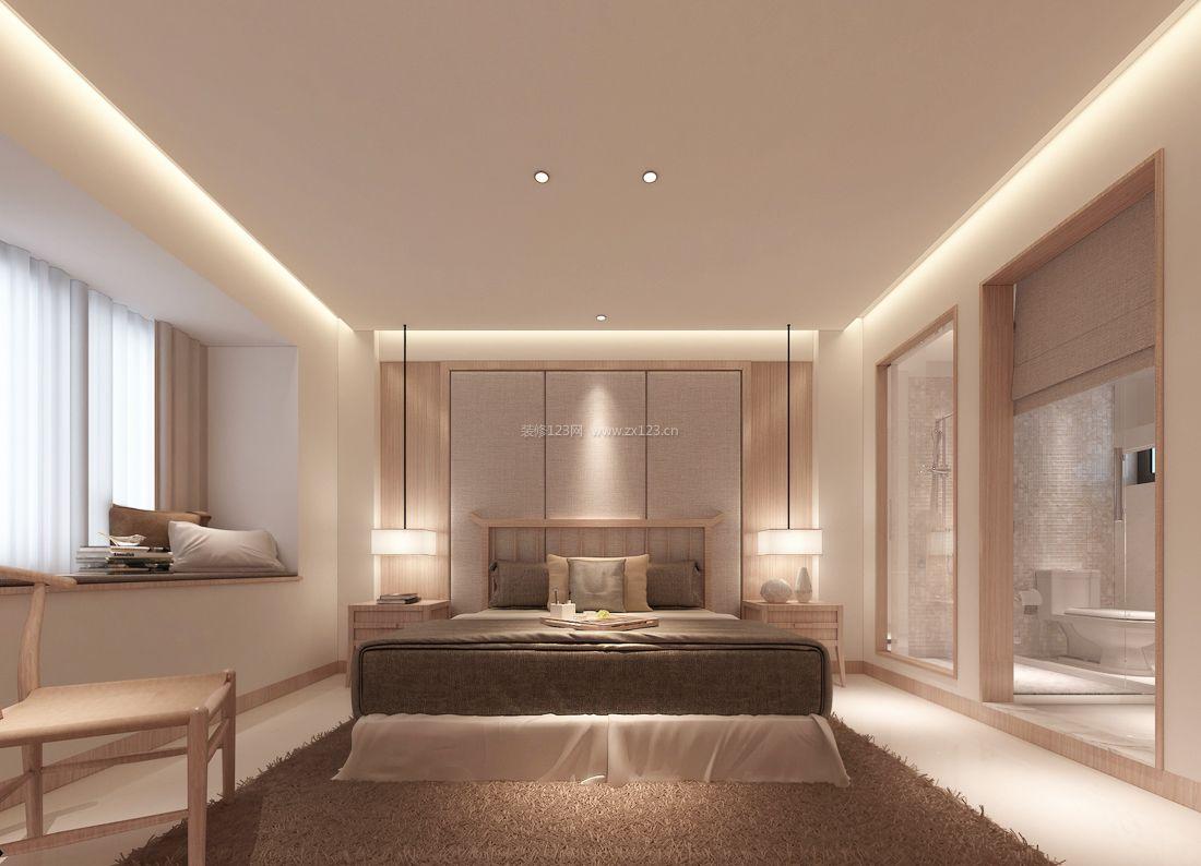 2017现代中式风格卧室隔断装修效果图