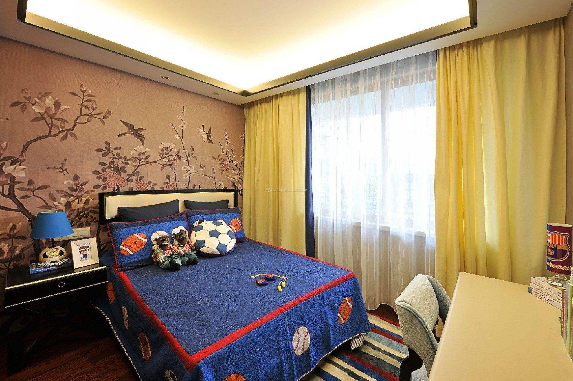新中式风格元素男生卧室装修效果图片